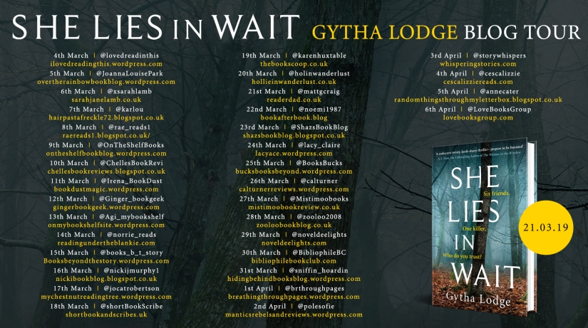 She Lies in Wait blog tour banner